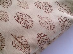 Cotton Block Print Paisley Leaves Indian Fabric Beige Brown on Etsy, 2,26 €