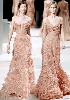 Elie Saab Spring/Summer 2011 Couture Dresses. I love the structured bodice and belt on the dress on the left.