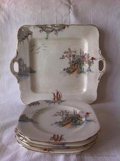 5 Platos y fuente de porcelana inglesa