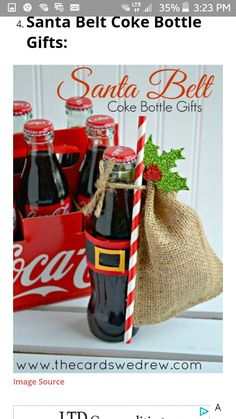 Get Inspired with Gift Giving: Santa Belt Coke Bottle Gifts Christmas Decorations, Christmas Gifts, Christmas iDeas All Things Christmas, Holiday Fun, Holiday Gifts, Christmas Holidays, Christmas Decorations, Christmas Vacation, Christmas Tables, House Decorations, Modern Christmas