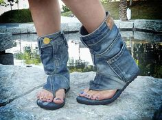 Upcycled Denim Sandals.  Glad to know that all of my pre-pregnancy jeans (that no longer fit) can still be put to good use...