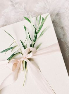 Olive Branches and Silk Ribbons to Wrap a 9x10 Neve Album in Light Linen | NeveAlbums.com | Fine Art Wedding Albums | Albums for Film Shooters | Hand Bound | Photo Rag