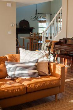 Ikea Sofas, Ikea Sectional, Ikea Couch, Ikea Furniture, Dining Furniture, Ikea Leather Sofa, Orange Leather Sofas, Leather Sectionals, Landskrona Sofa