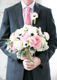 Fun pink and white bouquet by Kate Foley Designs! Photo by EE Photography. #wedding #bouquet #pink