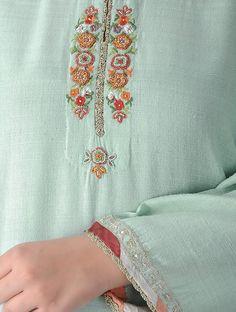 Green Matka Silk Kurta with Embroidery Zardozi Embroidery, Embroidery On Kurtis, Hand Embroidery Dress, Kurti Embroidery Design, Embroidery Neck Designs, Embroidered Clothes, Embroidery Fashion, Indian Embroidery, Beaded Embroidery