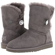 UGG Bailey Button Bling Women's Boots ($220) ❤ liked on Polyvore featuring shoes, boots, ankle boots, bootie shoes, button boots, fold over boots, faux fur shoes and foldover ankle boots