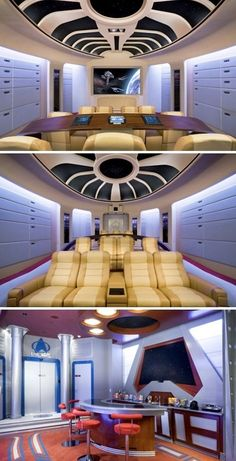This Star Trek Home Theater is phenomenal (or as I like to call it, Nerdvana). This Star Trek Home Theater is phenomenal (or as I like to call it, Nerdvana). At Home Movie Theater, Home Theater Rooms, Home Theater Design, Cinema Room, Plafond Design, Home Movies, Looks Cool, My New Room, My Dream Home