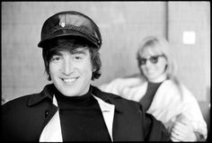 John Lennon during the filming of Help! in Obertauern, Austria in 1965.  Cynthia in background.