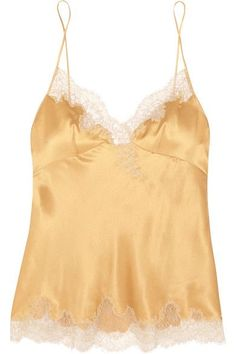 """For her Resort '17 collection Carine Gilson is inspired by the """"luminous presence"""" of gold. This camisole is handmade from lustrous silk-satin trimmed with delicate cream lace sourced from Calais, and outlined in shimmering embroidery. Wear yours with the coordinating kimono and shorts."""