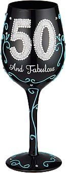 Amazon.com: Bottom's Up 15-Ounce 50 and Fabulous Handpainted Wine Glass: Kitchen & Dining