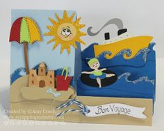 Summer Step Card by Scrapping Mommy using the Pack Your Bags cartridge.