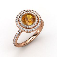 The Natalie Ring customized in citrine, diamond and rose gold