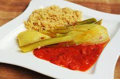 Skimmias Abendessen ist einfach fantastisch, oder?! Geschmorter Fenchel auf Tomatensauce mit Couscous