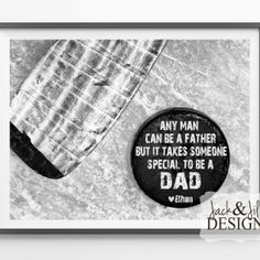 Father's Day Gift Idea - Personalized HOCKEY Print - Any Man Can Be a Father - Great gift for that HOCKEY FAN!