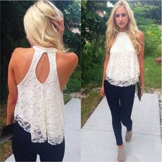 Dusty Rose or White sleeveless lace shirt Lace sleeveless shirt. Available in dusty rose and white. Only size I have is medium. The shirt is lace with a built in slip. It has a keyhole back. It is very pretty.  Please don't buy this post, just let me know what you want and I will make you a seperate post. Tops Blouses