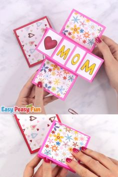 Let's take pop up cards to a new level – we are going to show you how to make a twist and pop Mothers day card! video basteln Twist and Pop Mother's Day Craft for Kids Boy Diy Crafts, Diy Crafts For Adults, Mothers Day Crafts For Kids, Mothers Day Cards, Diy Crafts Videos, Diy Crafts For Kids, Fun Crafts, Card Crafts, Diy Arts And Crafts
