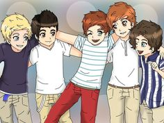 Niall Horan, Zayn Malik, Louis Tomlinson, Liam Payne, and Harry Styles (from One Direction); anime style