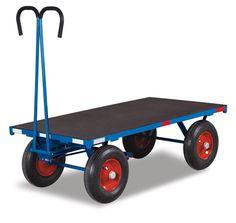 GTARDO.DE:  Handpritschenwagen, Tragkraft 700 kg, Ladefläche 1000x700 mm, Maße 1200x700x410 mm, Luftreifen 260x85 mm 428,00 €