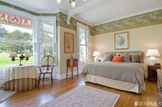 Alamo Row, Painted Lady Interior, Bedroom with interior wooden shutters.
