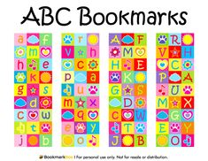 Free printable ABC bookmarks in PDF format. The template includes four different bookmark designs per page. Free Printable Bookmarks, Bookmark Template, Printable Scrapbook Paper, Diy Bookmarks, Free Printables, Back To School Party, Paper Banners, Holiday Themes, Book Making