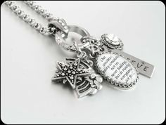 Silver Inspirational Quote Necklace Charm by BlackberryDesigns, $68.00