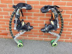 Powerisers, Powerbocking, Jumping Stilts - - Quick On/Quick Off Hooves - - the Re Mod : 9 Steps (with Pictures) Jumping Stilts, Homemade Bows, Inline Skating, Robot Concept Art, Find Friends, Bike Wheel, Suit Of Armor, Fantasy Armor, How To Make Bows