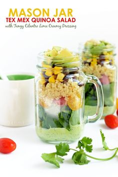 Meal prep this mason jar salad for the week! It is packed with protein, veggies, and a delicious healthy salad.