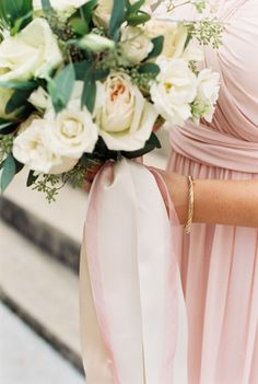 Long blush ribbons: http://www.stylemepretty.com/texas-weddings/austin/2015/01/29/downtown-austin-wedding-at-the-intercontinental-stephen-f-austin/ | Photography: Loft Photographie - http://loftphotographie.com/