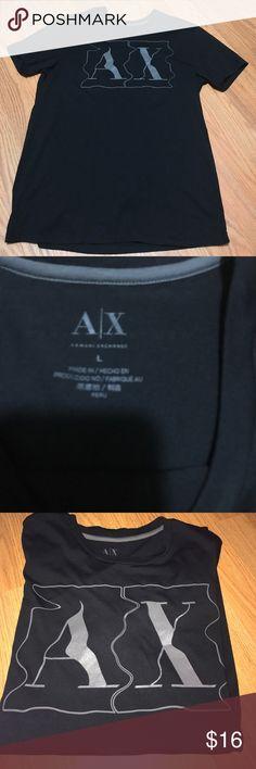 Men's  Armani Exchange logo tee Large Men's Armani exchange black tee with grey print. Photos with and without flash Armani Exchange Shirts Tees - Short Sleeve