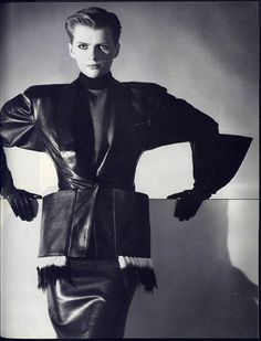 1982 - Azzedine Alaïa, Ensemble, in Vogue Fur Fashion, White Fashion, Leather Fashion, Fashion Details, Love Fashion, Fashion Brands, Fashion Tips, Fashion Design, Feminine Fashion