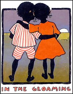 "Finsbry says: ""Vintage African-American Postcard--Children--In The Gloaming    These are among the few African-American/Black vintage illustrations I found that are not incredibly offensive or with over exaggerated stereotypical scenes or features,    This one is a postcard and probably done by an Italian artist."""