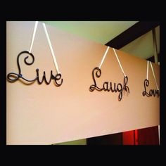I decided to hang with ribbon instead if using the nail holes :) Nail Holes, Live Laugh Love, Metal Wall Decor, Metal Walls, Handmade Crafts, Decorating Ideas, Ribbon, Projects, Home Decor