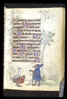 Marginal miniature of a fox in a cloak and hood, preaching to two roosters and a duck.  Netherlands, 14th century.  British Library.