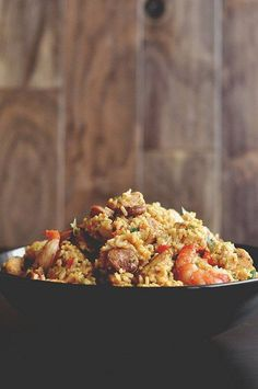 Recipe for Chicken Sausage and Shrimp Jambalaya - Bored with your usual repertoire of chicken dinners? Try this Chicken, Sausage and Shrimp Jambalaya, spicy and delish! Cajun Recipes, Seafood Recipes, Cooking Recipes, Healthy Recipes, Creole Recipes, Seafood Dishes, I Love Food, A Food, Food And Drink
