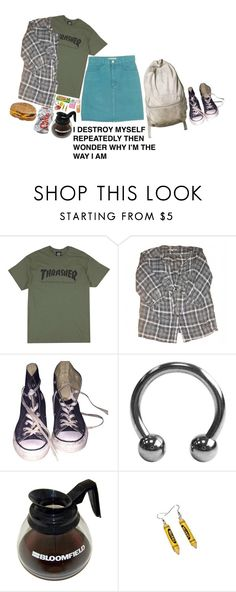 """""""Crazy Suicidal Head Case"""" by gossip-goat ❤ liked on Polyvore featuring GUESS, Sandro, Converse and Punky Pins"""