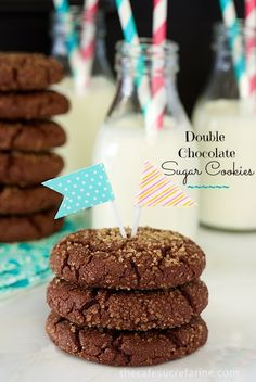 Chocolate Sugar Cookies. Crisp on the outside, chewy on the inside with lots of delicious chocolate flavor.