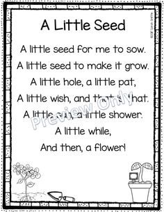 spring poems for kids includes poems for kids about springtime, planting seeds, and five little flowers. Use them for poem of the week, poetry notebooks, or as spring songs for kids. Spring Songs For Kids, Short Poems For Kids, Poetry For Kids, Kids Poems, English Poems For Kids, Kindergarten Poems, Preschool Poems, Spring Poem, Plant Lessons