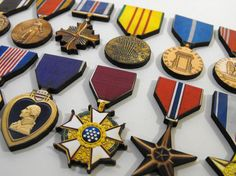 Wooden USA Military Medals - Collection of 12 Different Wood Laser Cut Medals