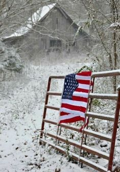 A snowy day in the heartland but the stars and stripes are never far away. The sight of Old Glory never fades away. Blessed to be living in the Land of Free and Home of the Brave. Country Barns, Old Barns, Country Life, Country Quotes, I Love America, God Bless America, American Spirit, American Flag, American Pride