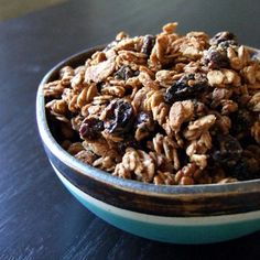Tahini Granola  2 cups gluten-free rolled oats  1/4 cup tahini  1/3 cup maple syrup  3/4 cup raisins  1/2 tsp cinnamon