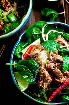 This crunchy thai beef salad is fresh light sweet salty and zesty and full of salad crunch and soft vermacilli noodles. Clean Eating Salads, Healthy Eating Recipes, Easy Healthy Dinners, Easy Dinner Recipes, Weeknight Dinners, Healthy Salads, Healthy Food, Asian Recipes, Beef Recipes