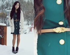 Miss Patina Button Up Dress, Foxy Originals Feather Belt, Romwe Boots | The stars came falling... (by Breanne S.) | LOOKBOOK.nu