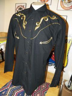 FRONTIER-Old-West-RETRO-Black-Cowboy-PEARL-SNAPS-Western-MEN-039-S-Shirt-SIZE-XL