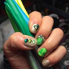 St patrick's nails painted with permanent markers, gel polish and bling