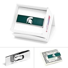 """NCAA Mens Plated Michigan State Spartans Money Clip. Approximately 2 3/8"""" x 3/4"""". Officially licensed NCAA merchandise. Double grip money security backing. Delivered wonderfully presented in the official NCAA gift box. Makes an excellent present for any college sports enthusiast!."""