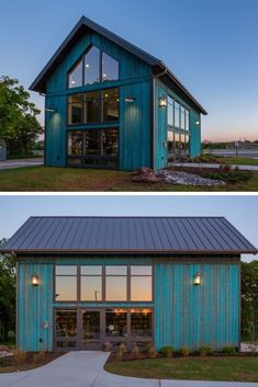 This unique barn-style office in Stillwater, Oklahoma is the namesake of our Stillwater Barn Home Kit. Originally a custom project, this bright turquoise building was so popular that we decided to turn it into one of our standard models. Barn House Kits, Modern Barn House, Pole Barn House Plans, Pole Barn Homes, Barn Plans, Barn Style Houses, Barn Style House Plans, Dream Houses, Pole Barn Garage