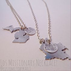 Customized Country/State necklace perfect for a sister missionary, missionary mom or missionary girlfriend! The charm can say anything from their favorite scripture, their initial or name!! It's all up to you because it's customized exactly how you want it!! #ldsmissionary #missionarymom #sistermissionary #missionarygirlfriend Custom Country/State necklace and Keychain by CustomizedbyKarli