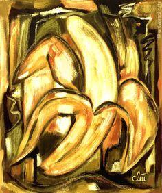 JACQUELINE DITT Hund auf gelbem Grund  A4 DRUCK n.Gemälde Bilder Giclee Tier