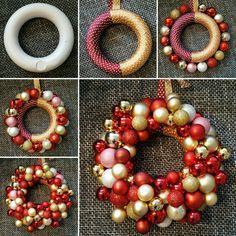 Basteln eines Weihnachtskugelskranz. Sie brauchen einen Styroporkranz in der grösse 20cm, Kugel, Geschenkband und Heissleihm.