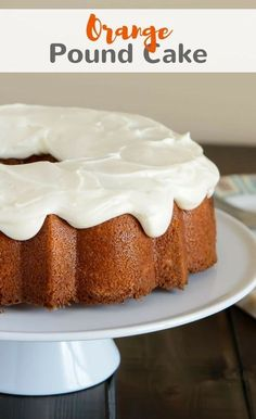 Orange Pound Cake is so light and moist with a thick sweet glaze to top it off. This will be a wonderful cake for summer! #orange #poundcake #cake #bakedbyanintrovertrecipes